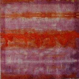 wol_zijde_tulle_vierkant_kader_oranje_violet_abstract_schilderij